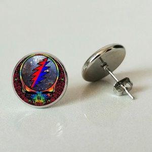 Grateful Dead SYF Glass Round Stud Earrings